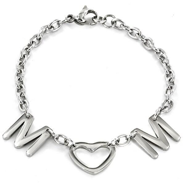 ELYA Stainless Steel 'Mom' Letter Charm Bracelet