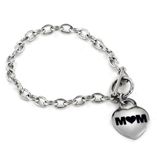 ELYA Stainless Steel Polished 'Mom' Heart Charm Bracelet