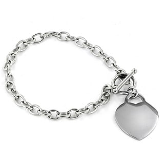 ELYA Designs Stainless Steel Polished Heart Charm Bracelet