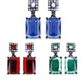 Black-plated Colored Crystal Rectangle Dangle Earrings