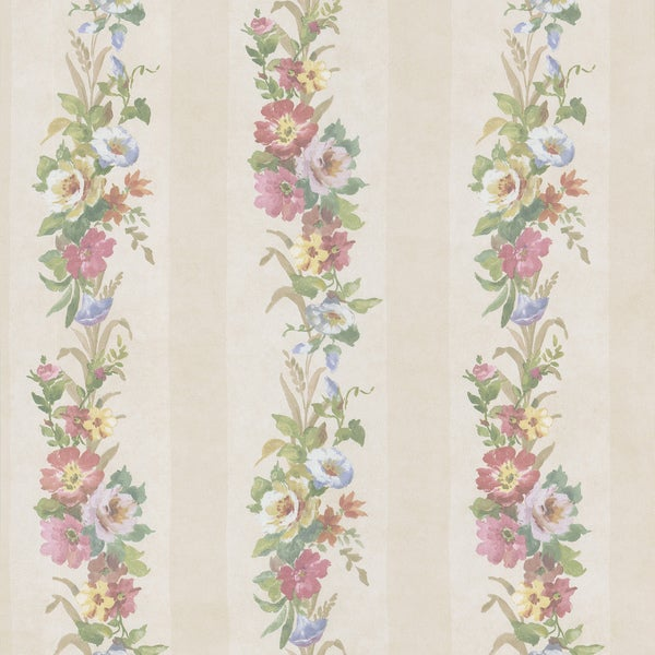 Champagne Flower Striped Wallpaper