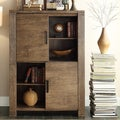 Myra II Modern Rustic Walnut Driftwood High Side Board Buffet Storage Cabinet
