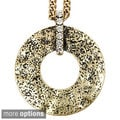 Goldtone or Silvertone Clear Crystal Hammered Open Circle Necklace