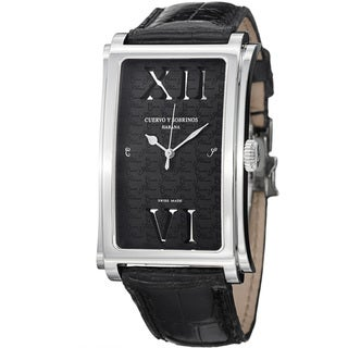 Cuervo Y Sobrinos Men's 1011.1NRO LBK 'Prominente Convertiblile' Leather Strap Watch