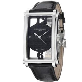 Curevo Y Sobrinos Men's 'Prominente Convertiblie' Black Strap Watch