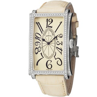 Cuervo Y Sobrinos Men's 1011.1C-S3 LIV 'Prominente' Cream Dial Diamond Watch