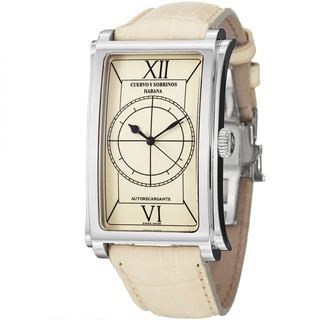 Cuervo Y Sobrinos Men's 1011.1CS LIV 'Prominente' Cream Dial Leather Strap Watch