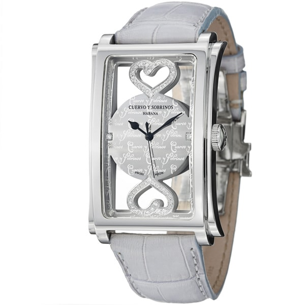 Cuervo Y Sobrinos Men's 1011.1COR LGY 'Prominente Convertibile' Diamond Heart Watch