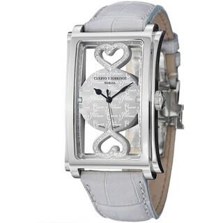 Cuervo Y Sobrinos Men's 1011.1COR LGY 'Prominente Convertibile' Diamond Heart Watch