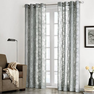 Madison Park 'Chace' Burnout Paisley Print Sheer Curtain Panel