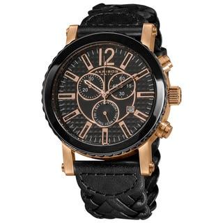 Akribos XXIV Men's Black Chronograph Swiss Quartz Braided Strap Watch
