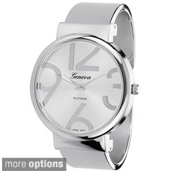 Geneva Platinum Women's Polished Cuff Watch