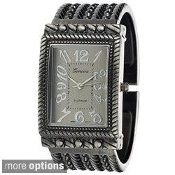 Geneva Platinum Women's Textured Metal Cuff Watch