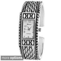 Geneva Platinum Women's Concho Stainless Steel Cuff Watch