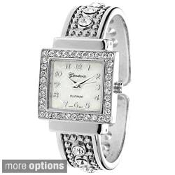 Geneva Platinum Women's Rhinestone Accent Cuff Watch
