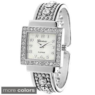 Geneva Platinum Women's Rhinestone Accent Cuff Watch