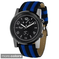 Geneva Platinum Men's Canvas Strap Water-resistant Watch