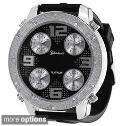 Geneva Platinum Men's Milgrain Rhinestone Accent Subdial Watch