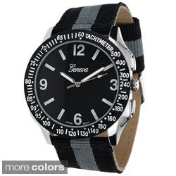 Geneva Platinum Men's Canvas Strap Watch