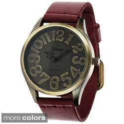 Geneva Platinum Women's Faux Leather Vintage-style Watch