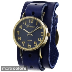 Geneva Platinum Women's Faux Leather Wrap Watch