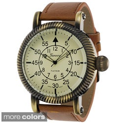 Geneva Platinum Men's Faux Leather Vintage Watch