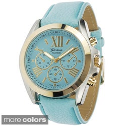 Geneva Platinum Women's Faux Leather Watch