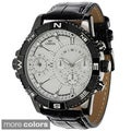 Geneva Platinum Men's Faux Croc Embossed Subdial Watch