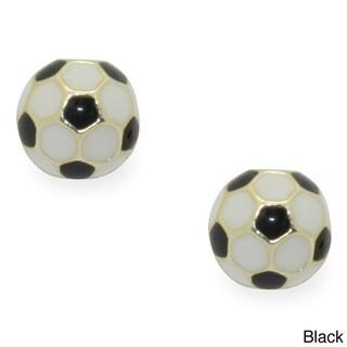Junior Jewels 18k Gold Overlay Children's Enamel Soccer Ball Earrings