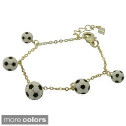 Gioelli Junior Jewels 18k Gold Overlay Children's Enamel Soccer Ball Bracelet