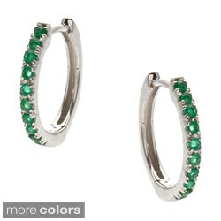 Kabella 14k White Gold Sapphire, Ruby or Emerald Hoop Earrings