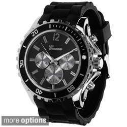 Geneva Platinum Men's Tachymeter Silicone Strap Watch