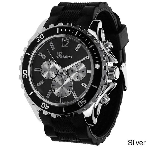 Geneva Platinum Men's Tachymeter Silicone Strap Watch