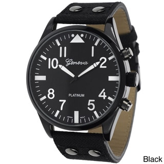 Geneva Platinum Men's Round Canvas Strap Watch