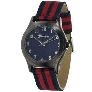 Geneva Platinum Canvas Striped Strap Watch