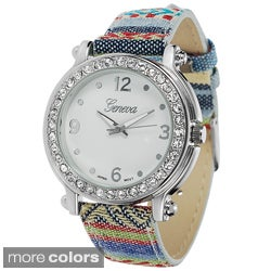 Geneva Platinum Printed Rhinestone Accent Watch