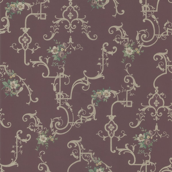 Burgundy Flower Scroll Wallpaper