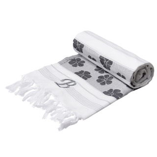 Authentic Fouta Black/White Floral Jacquard Turkish Cotton Bath and BeachTowel with Monogram Initial
