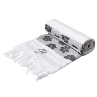 Authentic Fouta Black/White Floral Jacquard Turkish Cotton Towel with Monogram Initial
