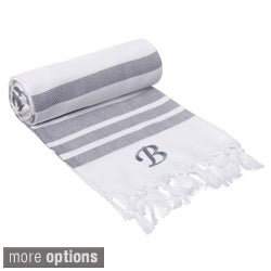 Authentic Grey Bold Stripe Fouta Turkish Cotton Bath and Beach Towel with Monogram Initial