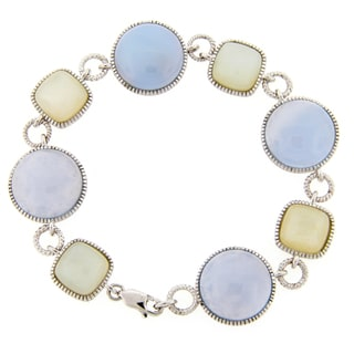 Meredith Leigh Sterling Silver Chalcedony and Moonstone Bracelet