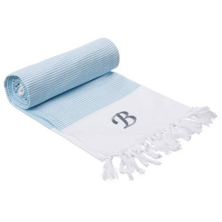 Authentic Pestemal Fouta Aqua Blue and White Pencil Stripe Turkish Cotton Bath/ Beach Towel with Monogram Initial