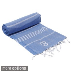 Authentic Fouta Turkish Cotton Towel Royal Blue with Monogram Initial