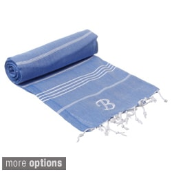 Authentic Fouta Turkish Cotton Bath/ Beach Towel Royal Blue with Monogram Initial