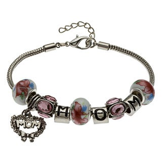 La Preciosa Pink-Themed 'Mom' Pandora Style Charm Bracelet