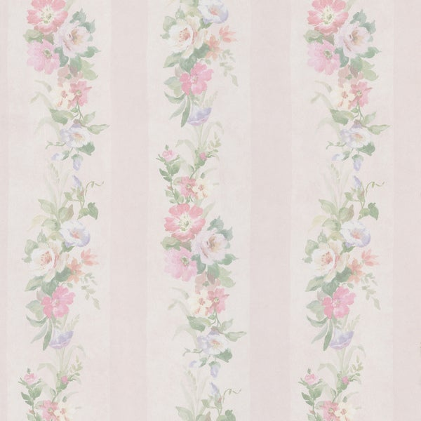 Off-white Flower Striped Wallpaper