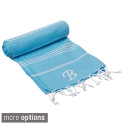 Authentic Pestemal Fouta Original Turquoise Blue and White Stripe Turkish Cotton Bath and Beach Towel with Monogram Initial