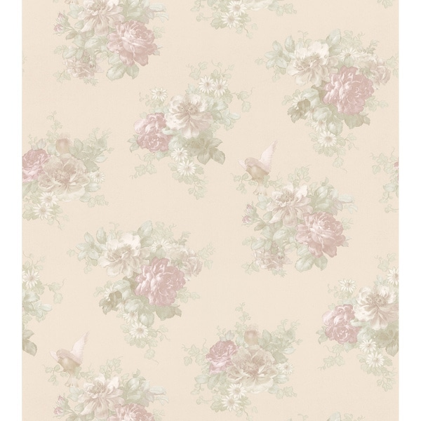 Champagne Floral Wallpaper