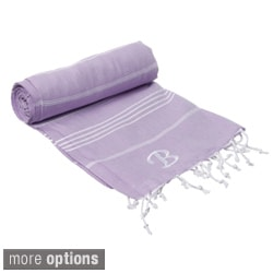 Authentic Lilac Fouta Turkish Cotton Bath/ Beach Towel with Mongram Initial