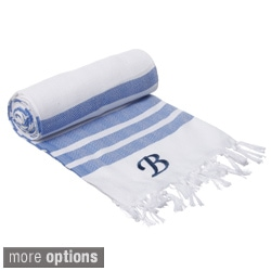 Authentic Royal Blue Bold Stripe Fouta Turkish Cotton Bath/ Beach Towel with Monogram Initial